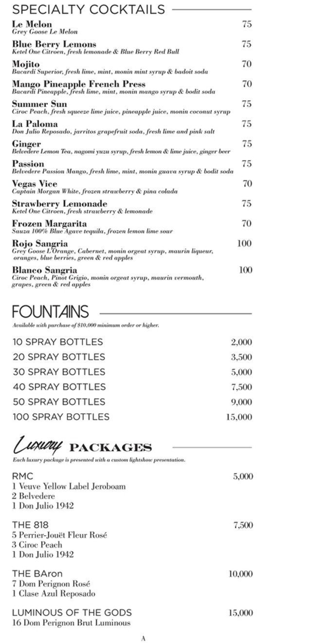 Drai S Beach Club Bottle Menu