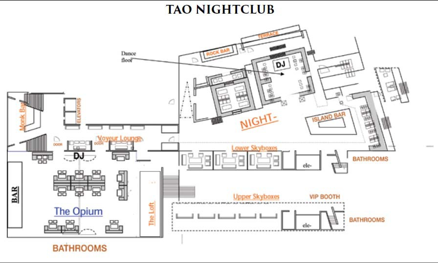 Tao bottle service discotech the 1 nightlife app for Nightclub floor plans