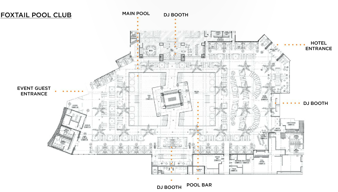 Foxtail pool club bottle service discotech the 1 for Nightclub floor plans