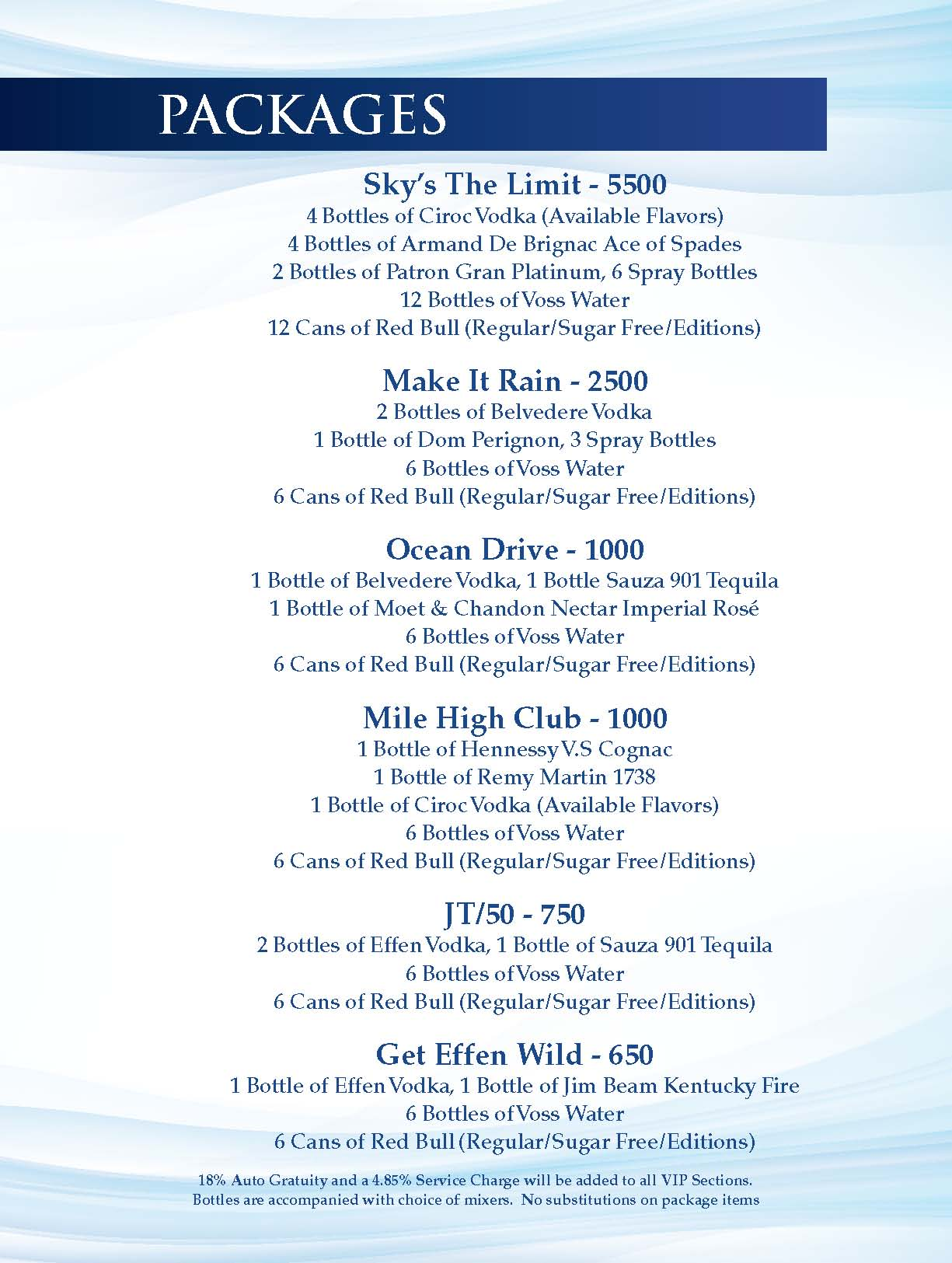 Sky Beach Club Bottle Menu