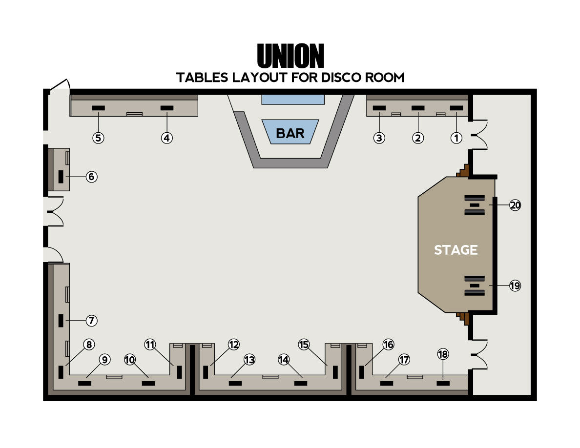 Union nightclub bottle service discotech the 1 for Nightclub floor plans